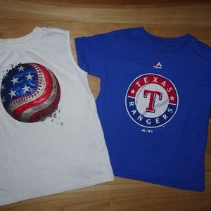 2 Boys Small Baseball Shirts Red, White, and Blue